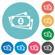 More banknotes with portrait flat white icons on round color backgrounds - More banknotes with portrait flat round icons