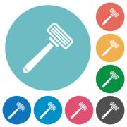 Razor flat white icons on round color backgrounds - Razor flat round icons - Large thumbnail