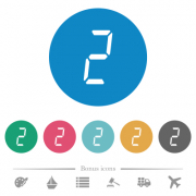 digital number two of seven segment type flat white icons on round color backgrounds. 6 bonus icons included. - digital number two of seven segment type flat round icons - Large thumbnail