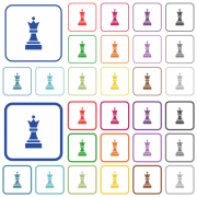 Black chess queen color flat icons in rounded square frames. Thin and thick versions included. - Black chess queen outlined flat color icons