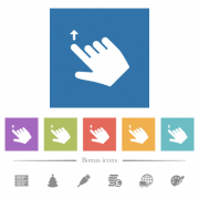 Right handed move up gesture flat white icons in square backgrounds. 6 bonus icons included. - Right handed move up gesture flat white icons in square backgrounds