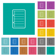 Scratch pad multi colored flat icons on plain square backgrounds. Included white and darker icon variations for hover or active effects. - Scratch pad square flat multi colored icons - Large thumbnail