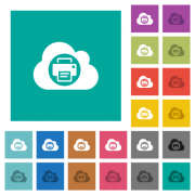 Cloud printing multi colored flat icons on plain square backgrounds. Included white and darker icon variations for hover or active effects. - Cloud printing square flat multi colored icons - Large thumbnail
