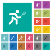 Tennis player multi colored flat icons on plain square backgrounds. Included white and darker icon variations for hover or active effects. - Tennis player square flat multi colored icons