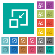 Shrink window multi colored flat icons on plain square backgrounds. Included white and darker icon variations for hover or active effects. - Shrink window square flat multi colored icons