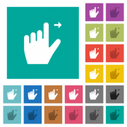 Left handed move right gesture multi colored flat icons on plain square backgrounds. Included white and darker icon variations for hover or active effects. - Left handed move right gesture square flat multi colored icons