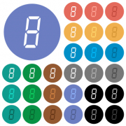 digital number eight of seven segment type multi colored flat icons on round backgrounds. Included white, light and dark icon variations for hover and active status effects, and bonus shades. - digital number eight of seven segment type round flat multi colored icons