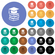 Graduation cap with books multi colored flat icons on round backgrounds. Included white, light and dark icon variations for hover and active status effects, and bonus shades. - Graduation cap with books round flat multi colored icons - Large thumbnail