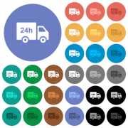 24 hour delivery truck multi colored flat icons on round backgrounds. Included white, light and dark icon variations for hover and active status effects, and bonus shades. - 24 hour delivery truck round flat multi colored icons - Large thumbnail