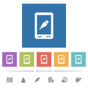 Mobile usb connection flat white icons in square backgrounds. 6 bonus icons included. - Mobile usb connection flat white icons in square backgrounds