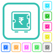 Indian Rupee strong box vivid colored flat icons in curved borders on white background