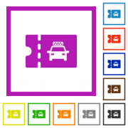 Taxi discount coupon flat color icons in square frames on white background - Taxi discount coupon flat framed icons