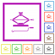 Car jack with crank flat color icons in square frames on white background - Car jack with crank flat framed icons