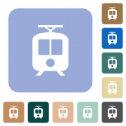 Tram white flat icons on color rounded square backgrounds - Tram rounded square flat icons