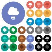 Cloud printing multi colored flat icons on round backgrounds. Included white, light and dark icon variations for hover and active status effects, and bonus shades. - Cloud printing round flat multi colored icons