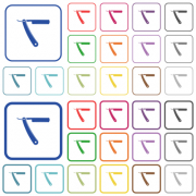 Straight razor color flat icons in rounded square frames. Thin and thick versions included. - Straight razor outlined flat color icons