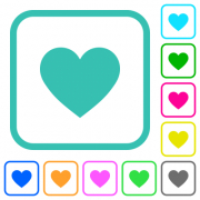 Heart card symbol vivid colored flat icons in curved borders on white background - Heart card symbol vivid colored flat icons - Large thumbnail