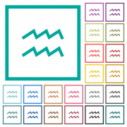 aquarius zodiac symbol flat color icons with quadrant frames on white background - aquarius zodiac symbol flat color icons with quadrant frames - Large thumbnail