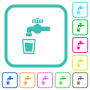 Drinking water vivid colored flat icons in curved borders on white background - Drinking water vivid colored flat icons - Large thumbnail