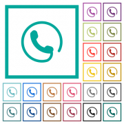 Hotline flat color icons with quadrant frames on white background - Hotline flat color icons with quadrant frames - Large thumbnail