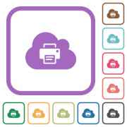 Cloud printing simple icons in color rounded square frames on white background - Cloud printing simple icons