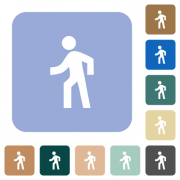 Man walking left white flat icons on color rounded square backgrounds - Man walking left rounded square flat icons
