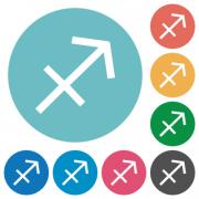 Sagittarius zodiac symbol flat white icons on round color backgrounds - Sagittarius zodiac symbol flat round icons