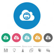 Cloud printing flat white icons on round color backgrounds. 6 bonus icons included. - Cloud printing flat round icons