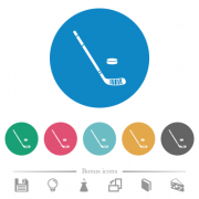 Hockey stick and puck flat white icons on round color backgrounds. 6 bonus icons included. - Hockey stick and puck flat round icons