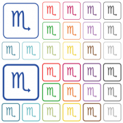 Scorpio zodiac symbol color flat icons in rounded square frames. Thin and thick versions included. - Scorpio zodiac symbol outlined flat color icons