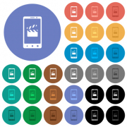 Smartphone film cut multi colored flat icons on round backgrounds. Included white, light and dark icon variations for hover and active status effects, and bonus shades. - Smartphone film cut round flat multi colored icons