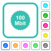 100 mbit guarantee sticker vivid colored flat icons in curved borders on white background - 100 mbit guarantee sticker vivid colored flat icons