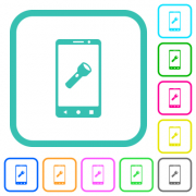 Mobile flashlight vivid colored flat icons in curved borders on white background - Mobile flashlight vivid colored flat icons