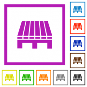 Single pallet flat color icons in square frames on white background - Single pallet flat framed icons