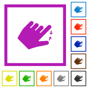 Left handed pinch close gesture flat color icons in square frames on white background - Left handed pinch close gesture flat framed icons