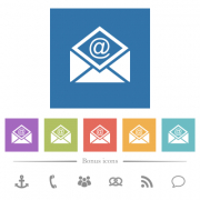 Open mail with email symbol flat white icons in square backgrounds. 6 bonus icons included. - Open mail with email symbol flat white icons in square backgrounds