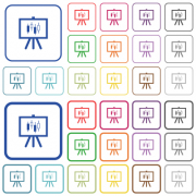 Presentation table with candlestick chart color flat icons in rounded square frames. Thin and thick versions included. - Presentation table with candlestick chart outlined flat color icons