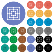 Nine men's morris game board multi colored flat icons on round backgrounds. Included white, light and dark icon variations for hover and active status effects, and bonus shades. - Nine men's morris game board round flat multi colored icons