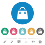 Shopping bag flat white icons on round color backgrounds. 6 bonus icons included. - Shopping bag flat round icons