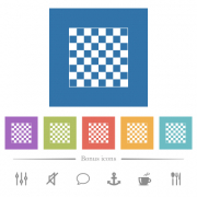 Chess board flat white icons in square backgrounds. 6 bonus icons included. - Chess board flat white icons in square backgrounds