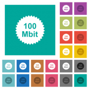 100 mbit guarantee sticker multi colored flat icons on plain square backgrounds. Included white and darker icon variations for hover or active effects. - 100 mbit guarantee sticker square flat multi colored icons