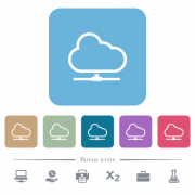 Cloud network white flat icons on color rounded square backgrounds. 6 bonus icons included - Cloud network flat icons on color rounded square backgrounds