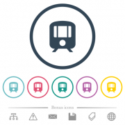 Train flat color icons in round outlines. 6 bonus icons included. - Train flat color icons in round outlines - Large thumbnail