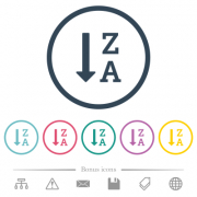 Alphabetically descending ordered list flat color icons in round outlines. 6 bonus icons included. - Alphabetically descending ordered list flat color icons in round outlines - Large thumbnail