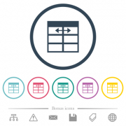 Spreadsheet adjust table column width flat color icons in round outlines. 6 bonus icons included. - Spreadsheet adjust table column width flat color icons in round outlines - Large thumbnail