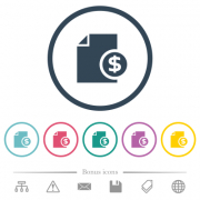 Dollar financial report flat color icons in round outlines. 6 bonus icons included. - Dollar financial report flat color icons in round outlines - Large thumbnail