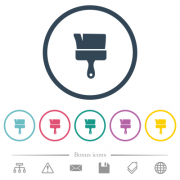 Paint brush flat color icons in round outlines. 6 bonus icons included. - Paint brush flat color icons in round outlines - Large thumbnail