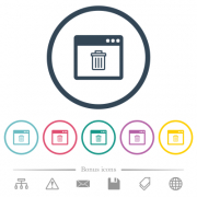 Application delete flat color icons in round outlines. 6 bonus icons included. - Application delete flat color icons in round outlines - Large thumbnail