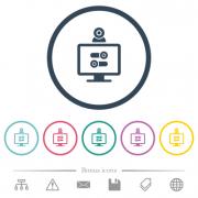 Webcam tweaking flat color icons in round outlines. 6 bonus icons included. - Webcam tweaking flat color icons in round outlines - Large thumbnail