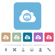 Cloud printing white flat icons on color rounded square backgrounds. 6 bonus icons included - Cloud printing flat icons on color rounded square backgrounds